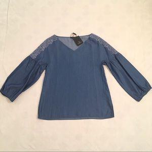 NWT Massimo Dutti denim lantern sleeve blouse